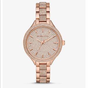 Slim Runway Pavé Rose Gold-Tone Watch